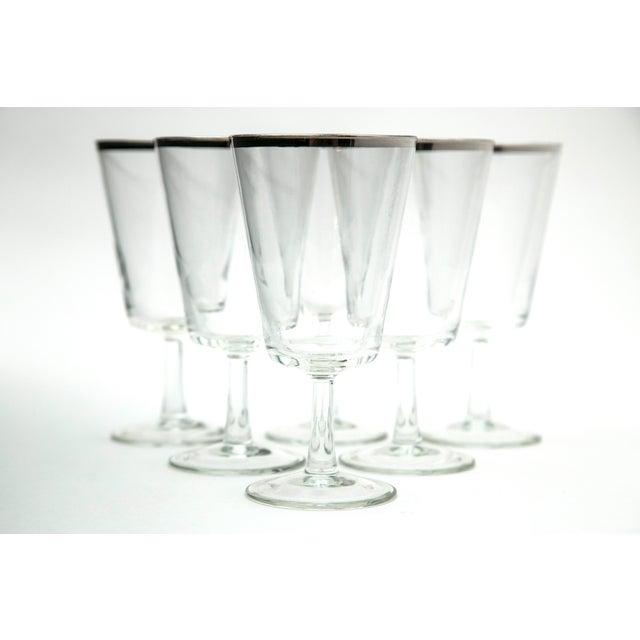 Image of Modern Silver Rim Glass Goblets - Set of 6