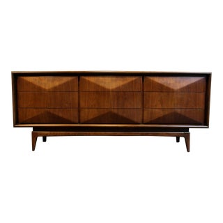 Mid-Century Modern Diamond Front Walnut Wood Dresser by United Furniture