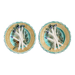 Antique French Majolica Asparagus Plates, Pair