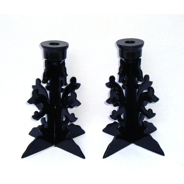 Modern Goth Black Metal Candle Holders - Image 3 of 10