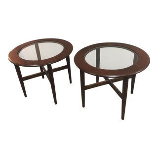 Danish Modern Walnut Side Tables - a Pair