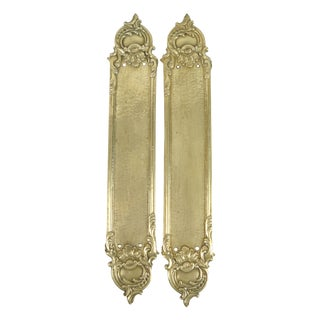 Brass Rococo-Style Door Push Plates - A Pair