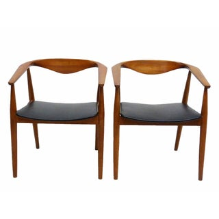 Danish Barrel Teak Armchairs - A Pair