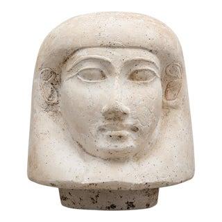 18th Dynasty Limestone Lid from a Canopic Jar Depicting Imsety