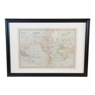 Hand Colored Antique Map of the World
