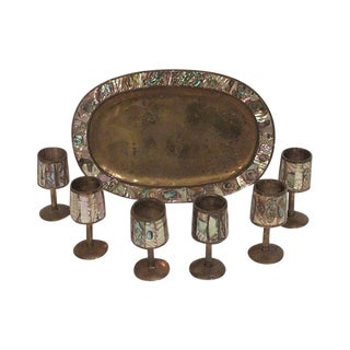 Mother of Pearl Brass Serving Set