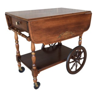 L. Hitchcock Harvest Paint Decorated Maple Drop Leaf Tea Cart