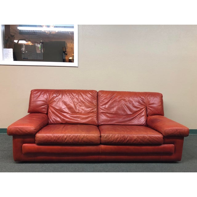 Roche Bobois Vintage Red Leather Sofa - Image 2 of 10