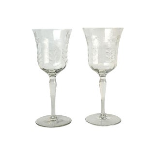 Mid-Century Etched Wine Goblets - A Pair