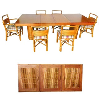 Rare Restored Mid Century Rattan and Mahogany Dining Set with Sideboard