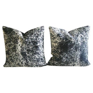 Speckled Black & White Cowhide Pillows - A Pair