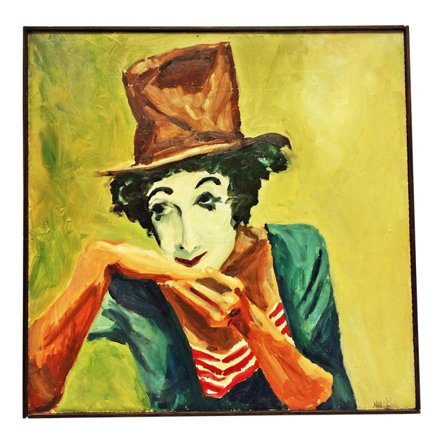 Vintage Impressionist Oil Painting of Clown - Image 1 of 11