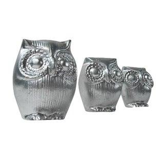 Mid-Century Silver Owl Figurines - Set of 3