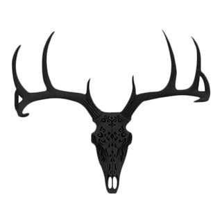 Carved Decorative Deer Skull Animal Head by Wall Charmers Mount Decor