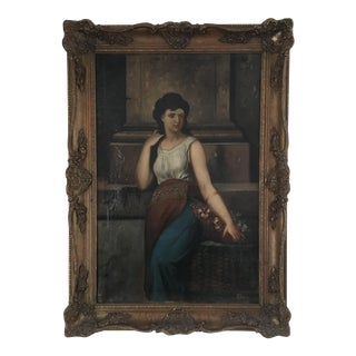 Antique French Styled Oil Painting in Carved Frame