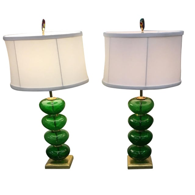 Image of Vintage Murano Emerald Green Lamps - a Pair
