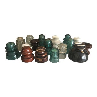 Vintage Glass & Ceramic Telephone Insulator Collection - Set of 20