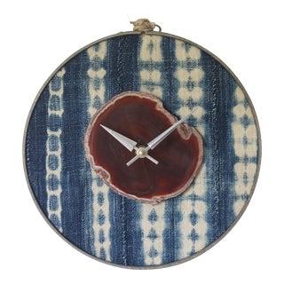 Boho Indigo Mudcloth Textile Amber Agate Wall Clock