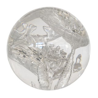 Lucite Sphere Sculpture With Suspended Bubble Inclusions