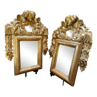 Spanish Colonial Carved and Gilded Mirrors - Pair