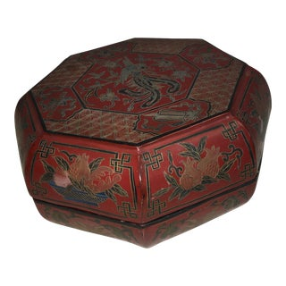 Vintage Red Lacquer Chinese Octagonal Box