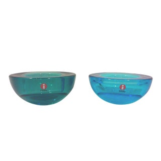 Iitalia Blue Glass Candle Holders - Pair