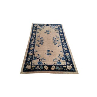 3′10″ × 6′10″ Antique Chinese Art Deco Handmade Knotted Rug - Size Cat. 4x6 5x7