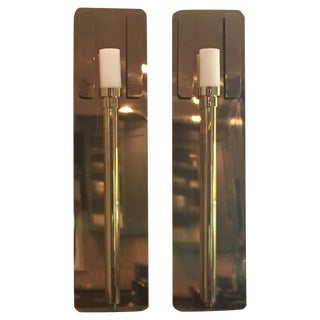 Large Modern Brass Candle Sconces - Pair