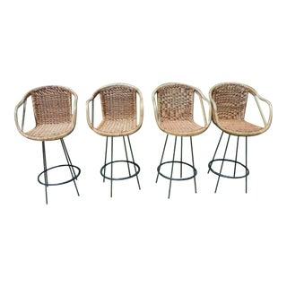 Tiki Arthur Umanoff Style Rattan Bar Stools - Set of 4