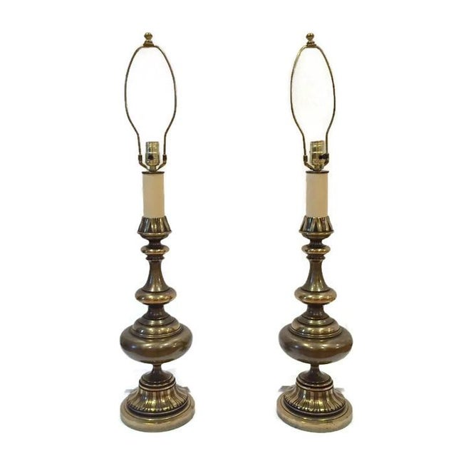 Huge Mid Century Brass Ornate Moroccan Lamps - 2 - Image 5 of 6