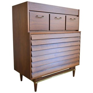 Merton L. Gershon Walnut & Brass Highboy Dresser