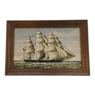 Mid-Century Linen Tall Ship Print