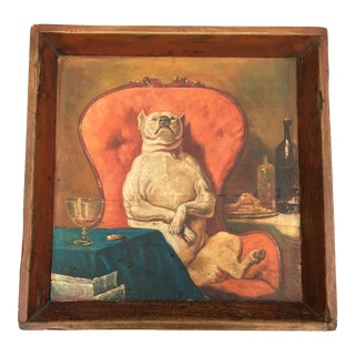 Antique Wooden Tray With Dog Painting
