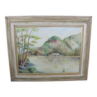 Vintage Cabin on Lake Impressionist Oil Painting on Board
