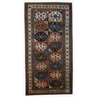 "Handmade Antique Caucasian Kazak Mohan Rug - 3'8"" X 8'2"""