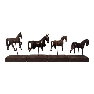 Hand Carved Antique Burmese Temples Horses - Set of 4