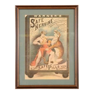 """""""Warner's Safe Nervine Tiger"""" 1892 Advertising Poster"""
