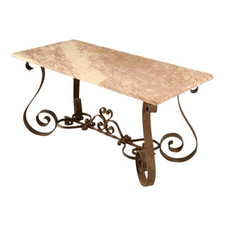 Outstanding Vintage French 40's Iron & Stone Console/Sofa Table