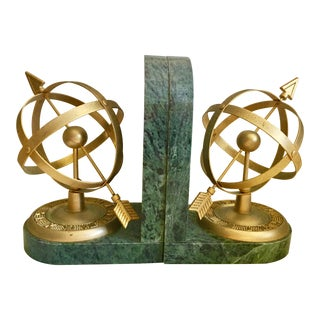 Italian Marble Armillary Bookends - a Pair