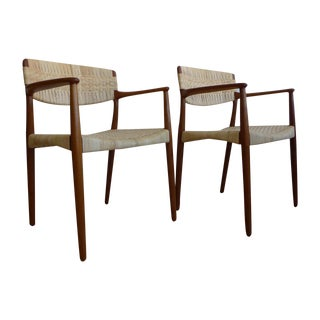 Teak Cane Captain Dining Arm Chair - A Pair