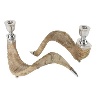 PAIR OF RAM'S HORN AND SILVER CANDLE HOLDERS
