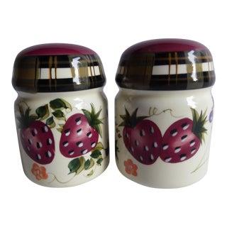 Vintage Oneida Strawberry Plaid Salt & Pepper Shakers - A Pair