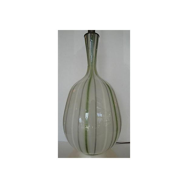Large Glass Lamp with Green Stripes - Image 3 of 4