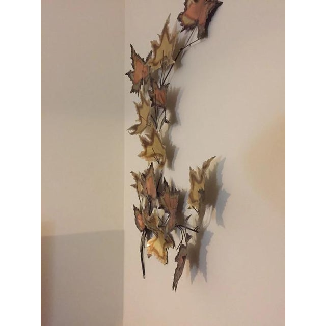 Vintage Jere Style Copper Brass Maple Leaves Metal Wall Art - Image 2 of 6