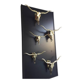 Collection of Five Polished Brass Longhorn Skulls Mounted as Lamps