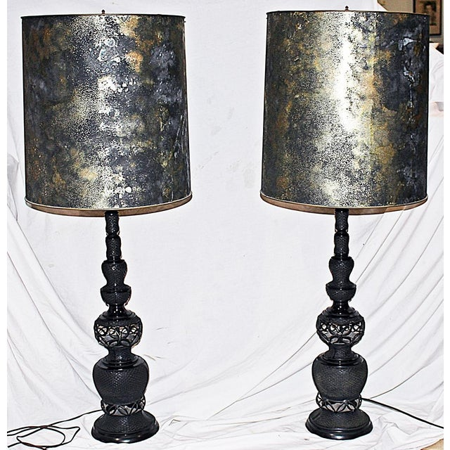 Image of Mid-Century Tall Black Metal Table Lamps - A Pair