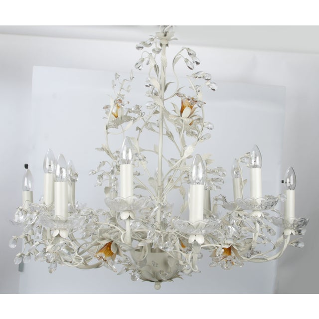 Image of White Metal & Crystal Italian Chandelier