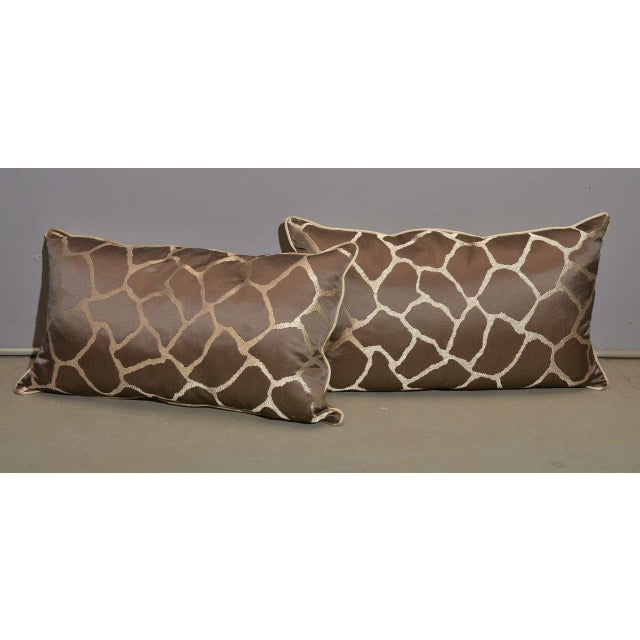 Scalamandre Brown Giraffe Print Pillows - A Pair - Image 3 of 5