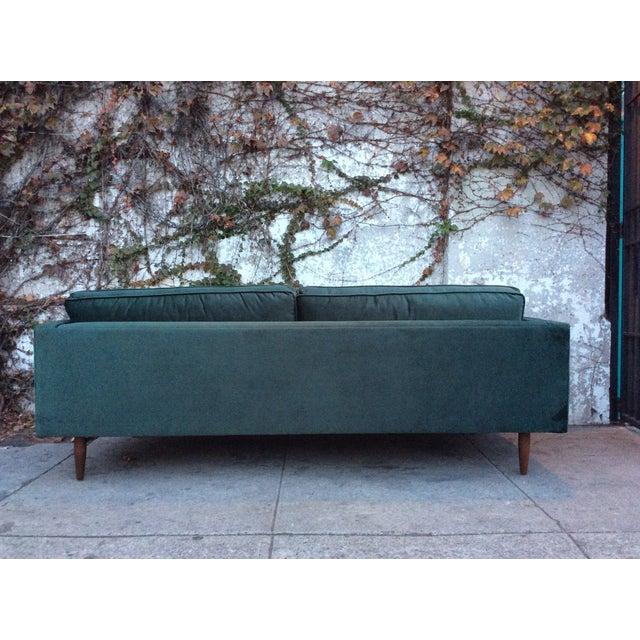 green velvet mid century style sofa chairish. Black Bedroom Furniture Sets. Home Design Ideas