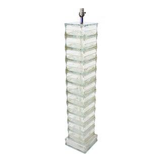 Italian Mid-Century Modern Glass Block Floor Lamp